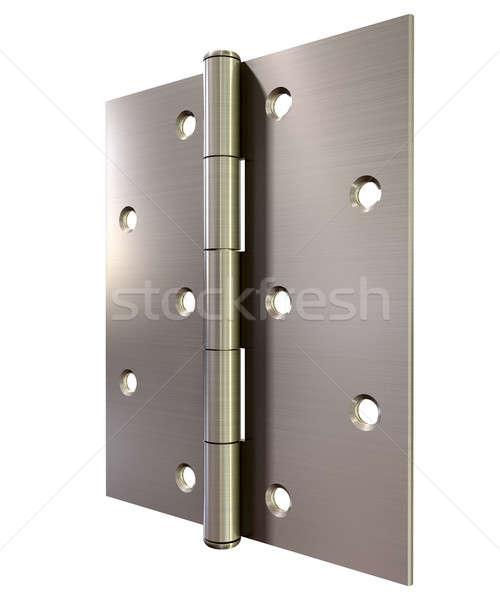 Metal kapı menteşe düzenli açmak Stok fotoğraf © albund