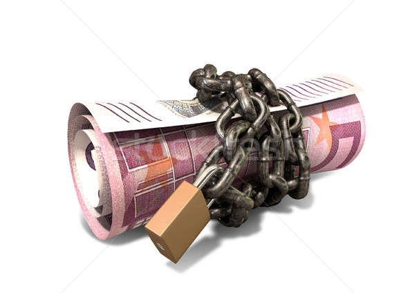 Rolled Up And Shackled Euro Notes Standing Stock photo © albund