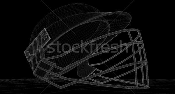 крикет шлема Черно-белые оказывать регулярный гриль Сток-фото © albund