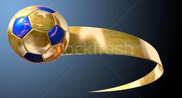 Foto stock: Oro · balón · de · fútbol · azul · cinta · aislado · oscuro