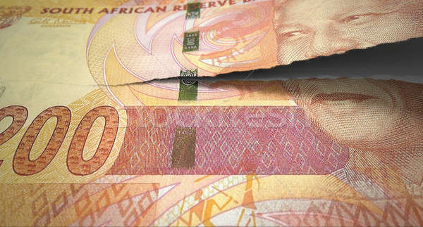 Tearing South African Rand Stock photo © albund