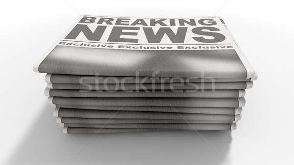 újság boglya rendkívüli hírek összehajtva egymásra pakolva újságok Stock fotó © albund