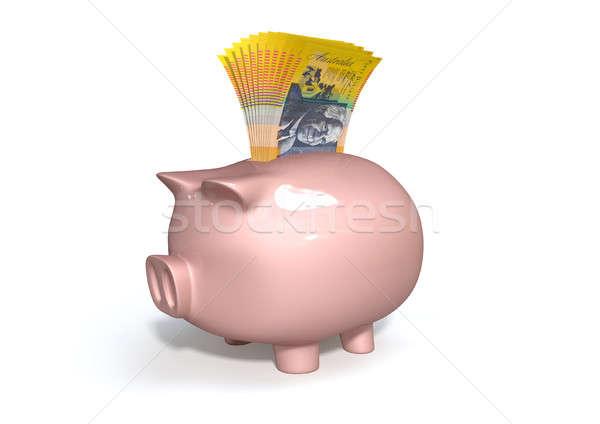 Alcancía ahorro australiano dólares rosa cerámica Foto stock © albund