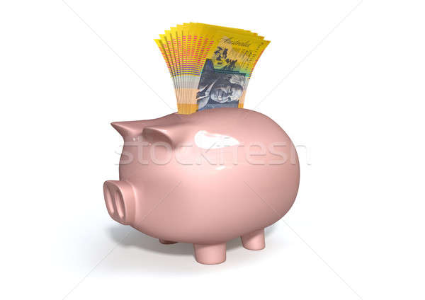 Piggy bank australiano dólares rosa cerâmico Foto stock © albund