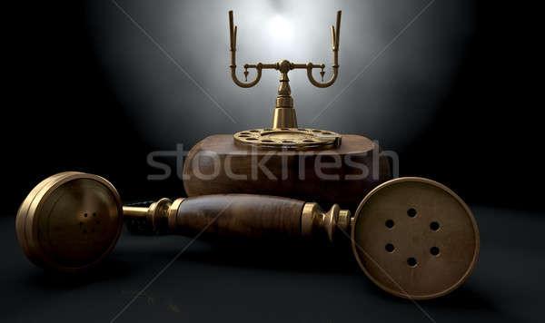Stockfoto: Vintage · telefoon · donkere · af · haak · hout