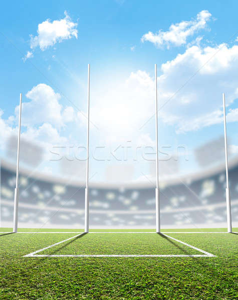 Stock photo: Sports Stadium And Goal Posts