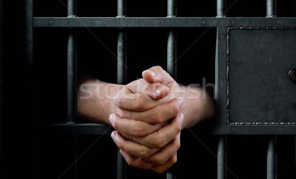 Jail Cell Door And Hands Stock photo © albund