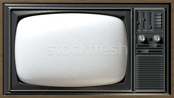 Vintage TV Flat Stock photo © albund