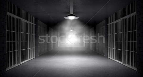 тюрьму коридор жуткий тюрьмы ночь Сток-фото © albund