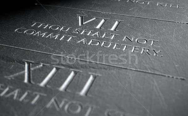 3d render tien steen tablet christelijke Stockfoto © albund