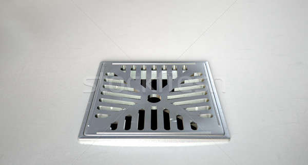 Stock photo: Chrome Shower Floor Drain Closeup