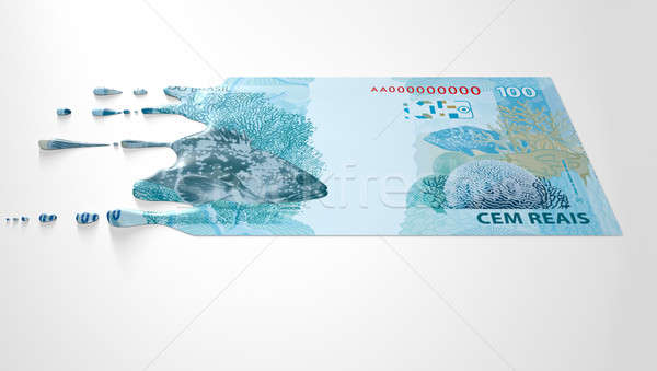 Brazilian Real Melting Dripping Banknote Stock photo © albund