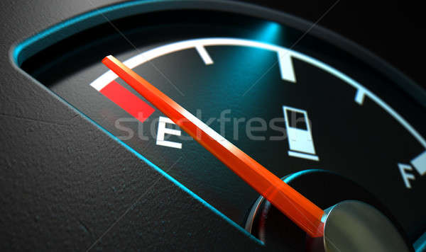 Stock photo: Gas Gage Illuminated Empty