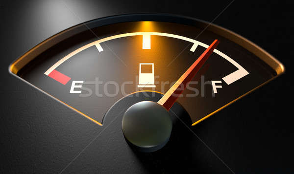 Stock photo: Gas Gage Illuminated Full