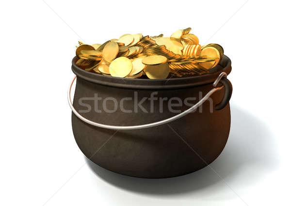 Stock fotó: Edény · arany · öntöttvas · arany · érmék · izolált · érmék