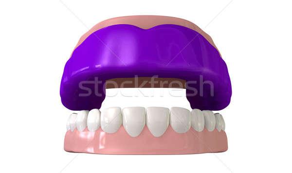 Sakız bekçi açmak yanlış dişler Stok fotoğraf © albund