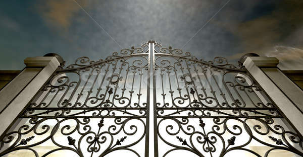 Heavens Closed Ornate Gates Stock photo © albund