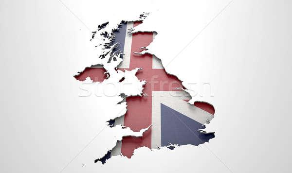Recessed Country Map Britain Stock photo © albund