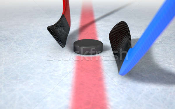 Ice Hockey Sticks And Puck Stock photo © albund