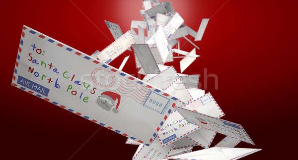 Caer cartas colección correo aéreo papá noel Foto stock © albund