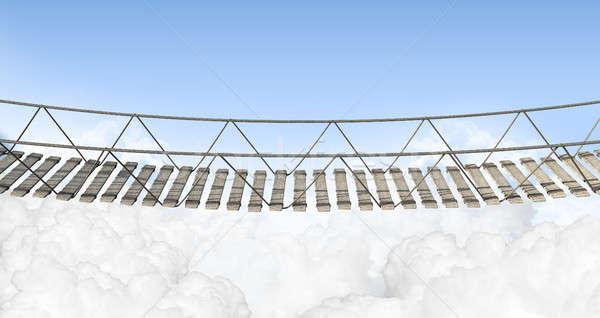 Touw brug boven wolken houten Stockfoto © albund
