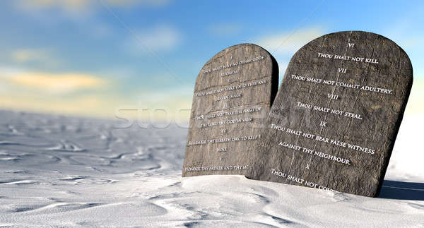 Ten Commandments Standing In The Desert Stock photo © albund