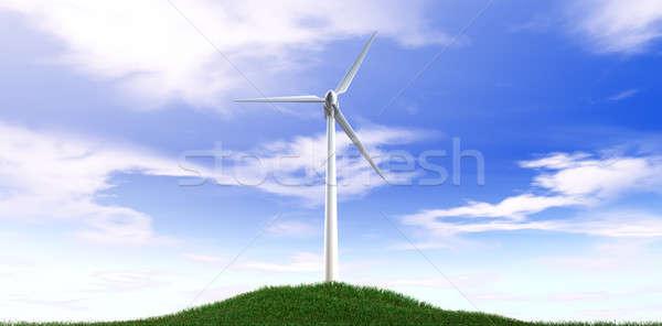 Rüzgar türbini mavi gökyüzü çim tepe düzenli çimenli Stok fotoğraf © albund
