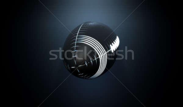 未来的な ネオン スポーツ ボール 黒 ストックフォト © albund