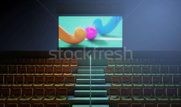 Stockfoto: Sport · stadion · scorebord · verlicht · groot · scherm