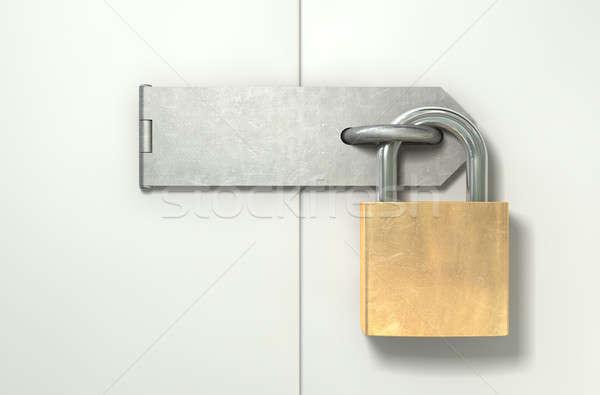 Padlock And Hasp Locked Front Stock photo © albund