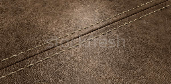 Brown Leather Stitched Seam Stock photo © albund