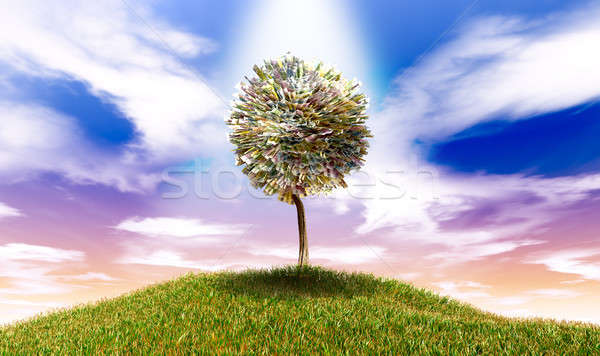 Stylised Money Tree Euro Bank Notes On Grassy Hill Stock photo © albund