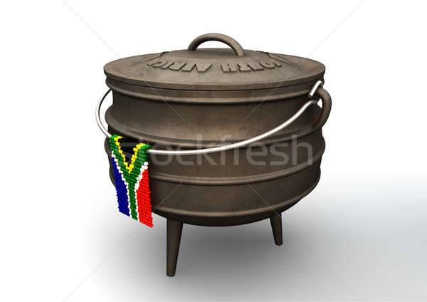 Potjie Pot With Zulu Bead South African Flag Stock photo © albund