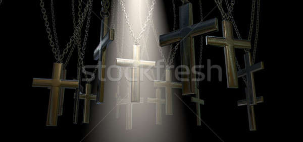 Suspendu crucifix Spotlight salut groupe métal Photo stock © albund