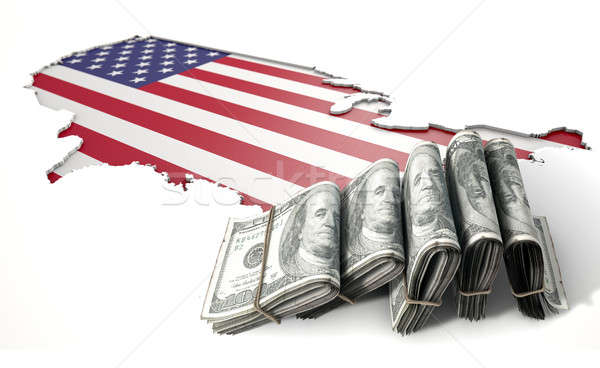 Recessed Country Map And Cash USA Stock photo © albund