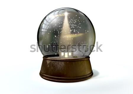 Crystal ball düzenli yalıtılmış beyaz stüdyo dünya Stok fotoğraf © albund