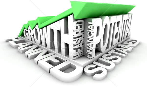 Wachstum Text arrow grünen Trend Sammlung Stock foto © albund