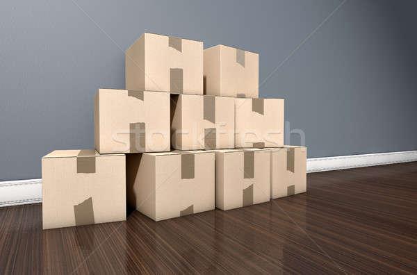 Cardboard Box Pile House Stock photo © albund