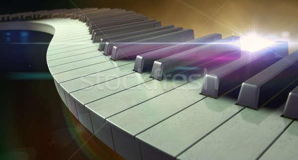 Szeszélyes zongora billentyűk tele szett rendszeres ki Stock fotó © albund