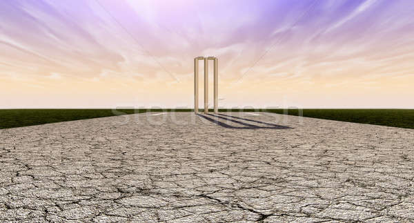 Cricket Wickets On Pitch Horizon Stock photo © albund