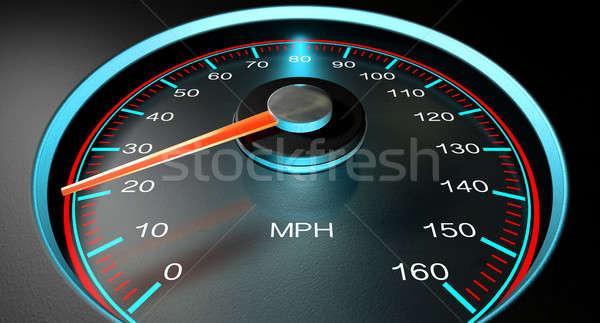 Velocímetro mph lento regular azul Foto stock © albund