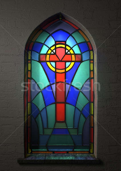 Stained Glass Window Crucifix Stock photo © albund