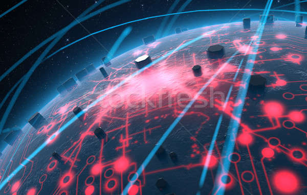 Stock photo: Alien Planet With Illuminated Network And Light Trails