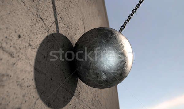 Wrecking Ball Hitting Wall Stock photo © albund