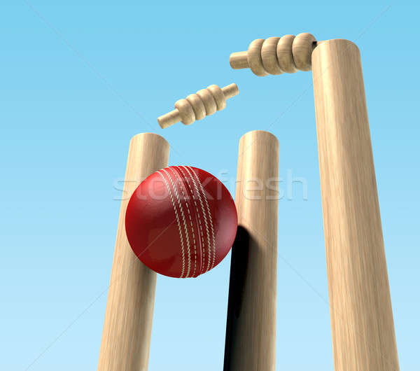 Cricket Ball Hitting Wickets Stock photo © albund