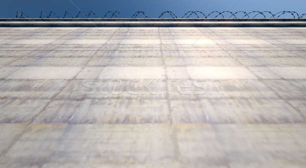 огромный высокий безопасности стены 3d визуализации конкретные Сток-фото © albund