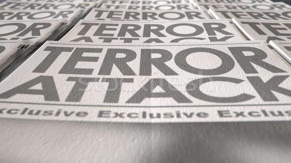 Сток-фото: газета · терроризм · прессы · запустить · конец · долго