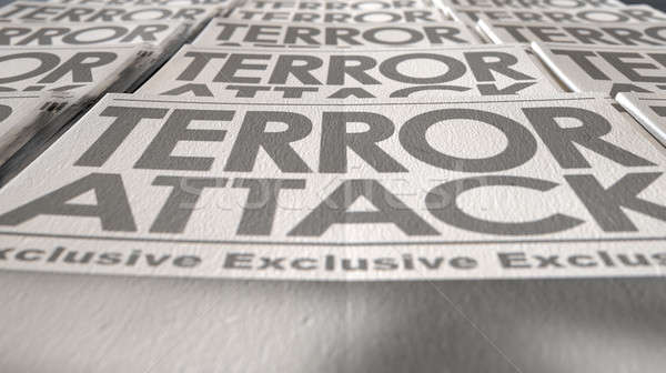 Krant terrorisme druk lopen einde lang Stockfoto © albund