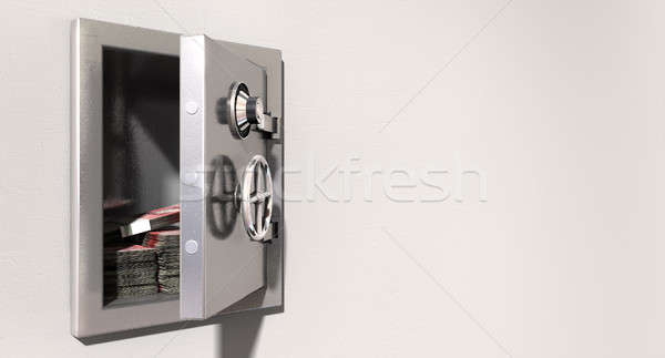 Open Safe On Wall With British Pounds Stock photo © albund
