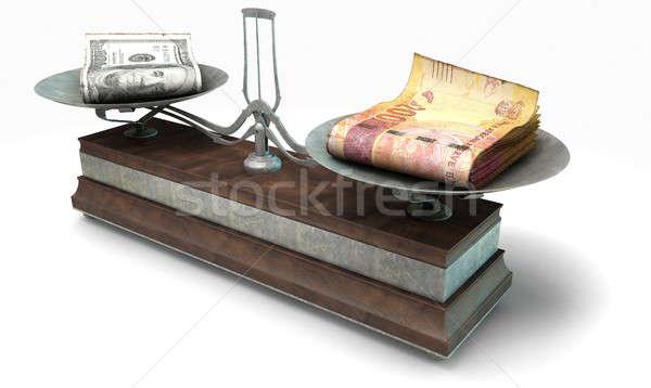 Egyensúly mérleg összehasonlítás öreg fém fa Stock fotó © albund